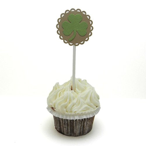 Shamrock Cupcake Topper - Set of 12 - St. Patrick's Day Decoration - St. Patrick's Day Cupcake Topper Set - Handmade - Irish Party Decor - Embellish by Jackie