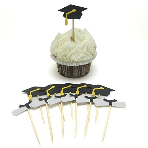 Graduation Cupcake Topper - Set of 12 - Graduation Cap and Diploma - Graduation Hat Cupcake Topper - Diploma Part Decoration - Graduation - Embellish by Jackie