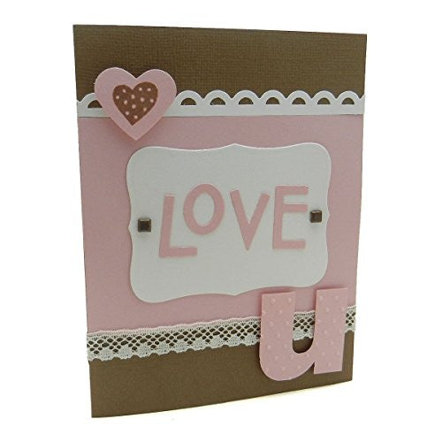 Handmade Love Card Love U Brown and Pink Vintage Embellishments Greeting - Embellish by Jackie