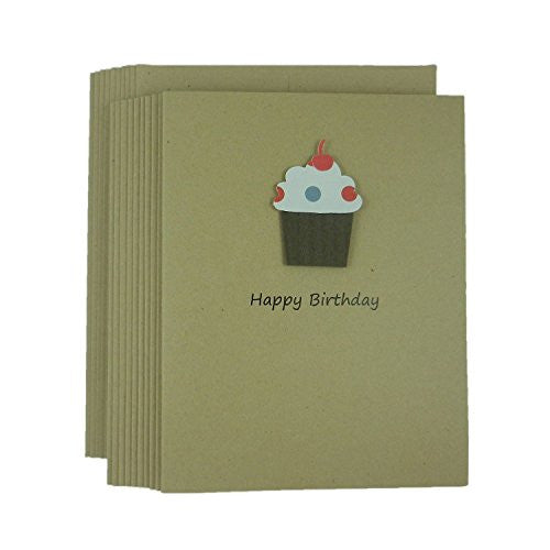 Cupcake Birthday Note Card Pack Kraft Handmade Happy Birthday Greeting Cards with Blank Inside - Embellish by Jackie