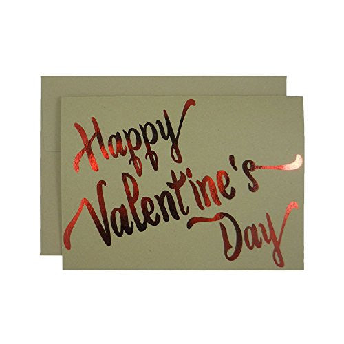 Red Foil Valentine's Day Card on Kraft Card stock - Happy Valentine's Day 5x7 Greeting Card Blank - Embellish by Jackie