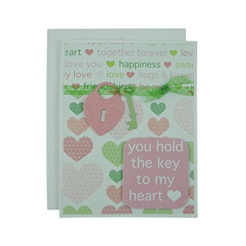 Valentine's Day Greeting Card - You hold the key to my heart - Handmade pink and green hearts with lock and key - for wife or husband girlfriend boyfriend - Embellish by Jackie