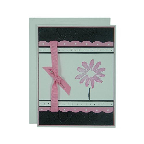 Pink Flower Mother's Day Card - Handmade Mother's Day Greeting Card - Black Texture with Pink Scallops Ribbon and Hand stamped flower card - Embellish by Jackie
