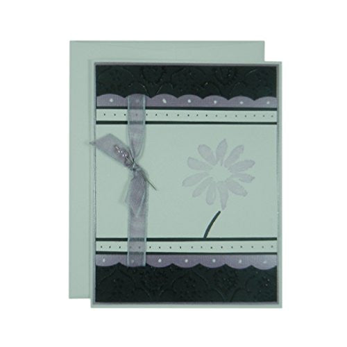 Light Purple Flower Mother's Day Card - Handmade Mother's Day Greeting Card - Black Texture with Pink Scallops Ribbon and Hand stamped flower card - Embellish by Jackie