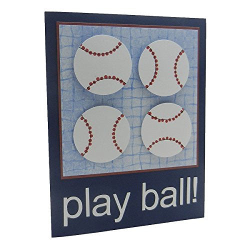 Handmade Baseball Greeting Card Navy Blue card with Baseballs Play Ball! Blank inside - Embellish by Jackie