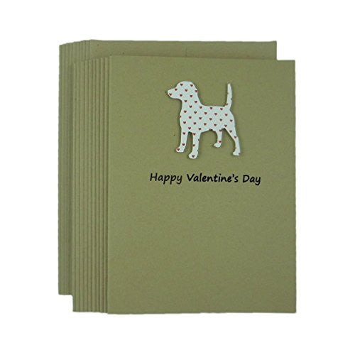 Dog Valentine's Day Greeting Card 10 pack Dog Silhouette with Small Red Hearts Handmade Beagle Kraft Paper - Embellish by Jackie