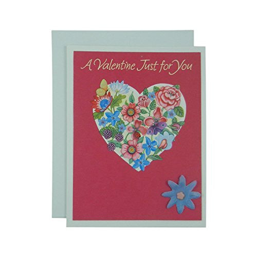 Valentine's Day Greeting Card - Handmade Recycled - Flowered Heart Valentine's Day Card - Recycled Valentine - Handmade Valentine's Day Card - Embellish by Jackie