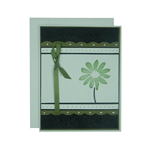 Olive Flower Mother's Day Card - Handmade Mother's Day Greeting Card - Black Texture with Pink Scallops Ribbon and Hand stamped flower card - Embellish by Jackie
