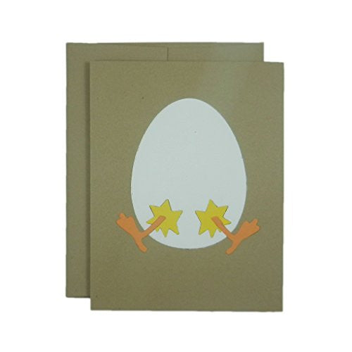 Easter Egg and Chick Handmade Greeting Card - Kraft Brown Card with Egg and Chick for Easter - Embellish by Jackie