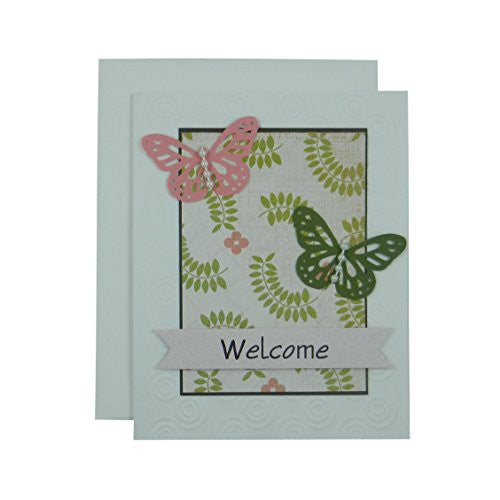 Handmade Butterfly Welcome Card - Welcome Card - Handmade with Butterflies - Blank Inside - Embellish by Jackie