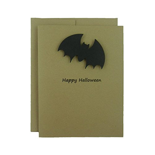 Bat Halloween Cards - Kraft with Black Bat Halloween Note Cards - Handmade Greeting Cards - Single Card -10 Pack - Blank Cards for Halloween - Embellish by Jackie