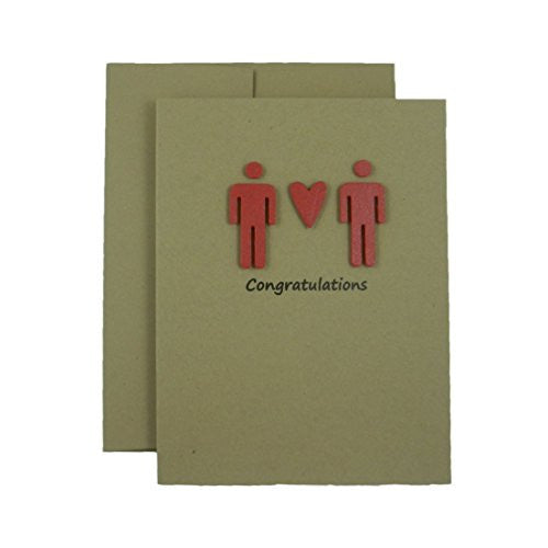 Handmade Gay Congratulations Card - 2 males Congratulations Card - Kraft Card with Red Male Silhouettes - Embellish by Jackie