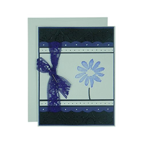 Purple Flower Mother's Day Card - Handmade Mother's Day Greeting Card - Black Texture with Pink Scallops Ribbon and Hand stamped flower card - Embellish by Jackie