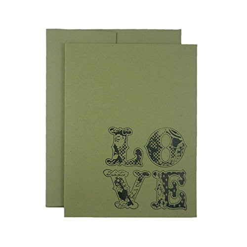 Love Valentine's Day Cards - Kraft brown Greeting Card with vintage floral patterned letters - 10 Pack or single - blank - hand stamped - Embellish by Jackie