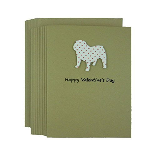 Bulldog Valentine's Day Greeting Card Pack of 10 with Small Red Hearts Handmade - Embellish by Jackie
