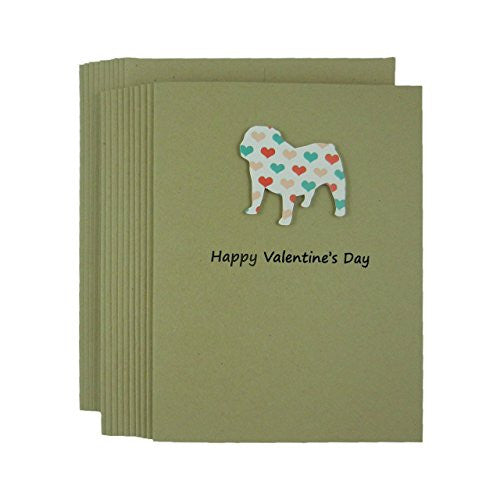 Bulldog Valentine's Day Greeting Cards with Colored Hearts Handmade 10 Pack - Embellish by Jackie