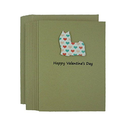 Dog Valentine's Day Greeting Card 10 pack Dog Silhouette with Colored Hearts Handmade Yorkshire Terrier - Embellish by Jackie
