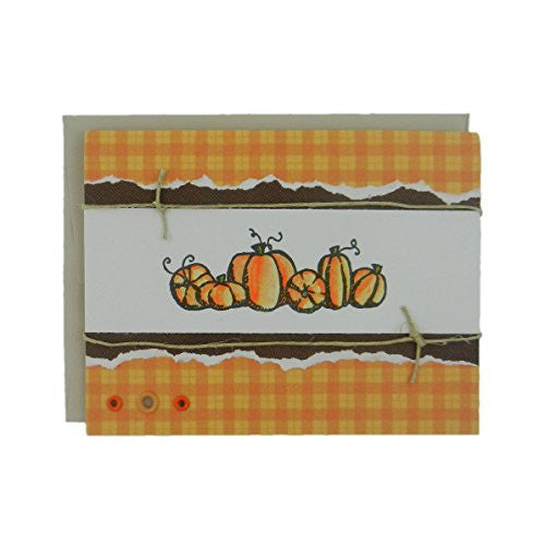 Pumpkin Halloween Greeting Card Handmade Fall Card Vintage Distressed A2 with Envelope - Embellish by Jackie