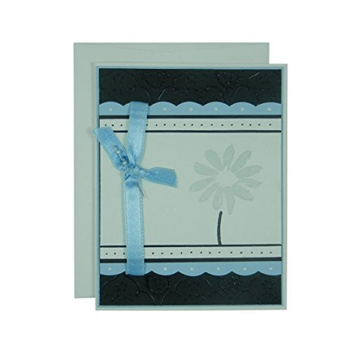 Light Blue Flower Mother's Day Card - Handmade Mother's Day Greeting Card - Black Texture with Pink Scallops Ribbon and Hand stamped flower card - Embellish by Jackie