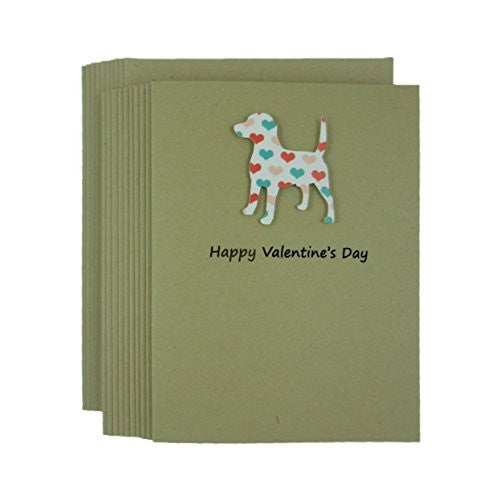 Dog Valentine's Day Greeting Card 10 pack Dog Silhouette with Colored Hearts Handmade Beagle Kraft Paper - Embellish by Jackie