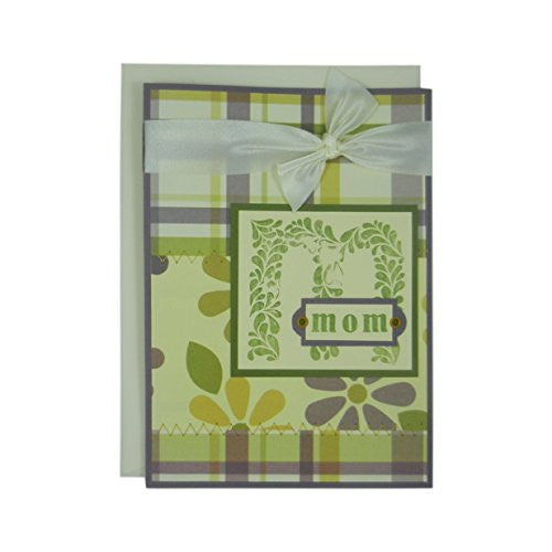 Mothers Day Greeting Card - M for Mom - Handmade Floral and Plaid Greeting Card for Mother's Day - Purple Green and Ivory Stitched & Ribbon - Embellish by Jackie
