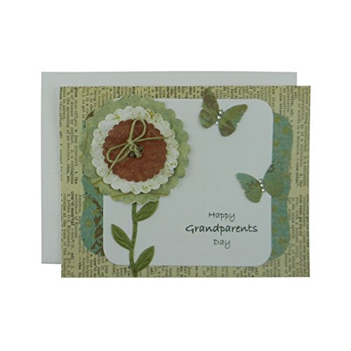 Grandparents Day Card - Handmade Greeting Card for Grandparents Day - Vintage Flower Card - Embellish by Jackie