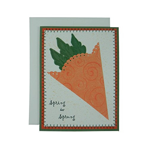 Spring Greeting Card - Handmade Greeting Card with Carrot - Welcome Spring Card - Green - Embellish by Jackie