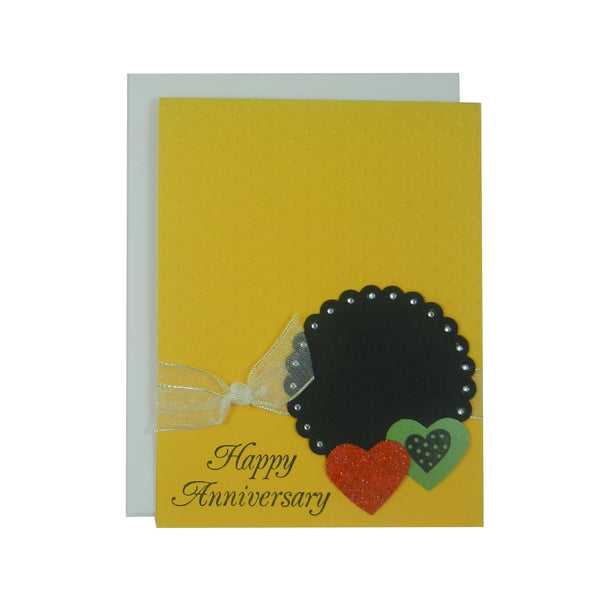 Anniversary Greeting Card - Yellow Embossed Polka Dots with Green and Red Hearts - Wedding Anniversary - Handmade Greeting Card - Yellow - Embellish by Jackie