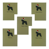 Miniature Schnauzer Christmas Cards with Santa Hat Single Card or 10 Pack Black Dog