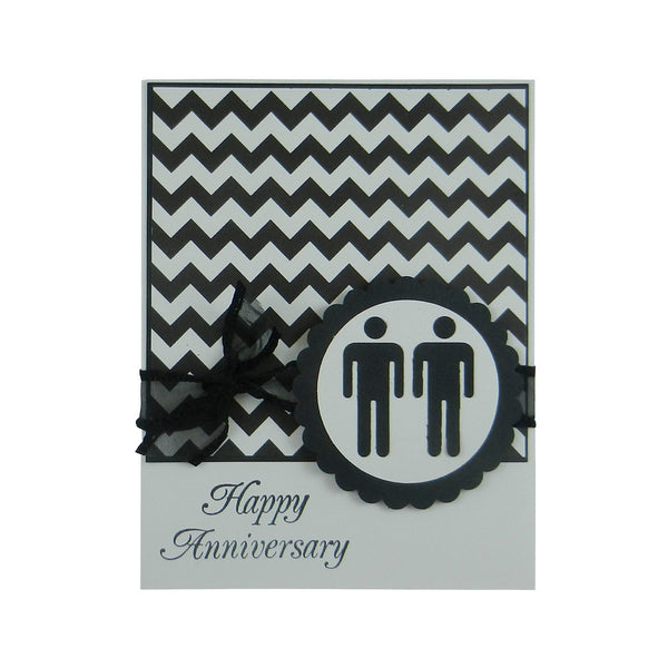 Gay Anniversary Card | Handmade Chevron Happy Anniversary Greeting Card 2 males - Embellish by Jackie