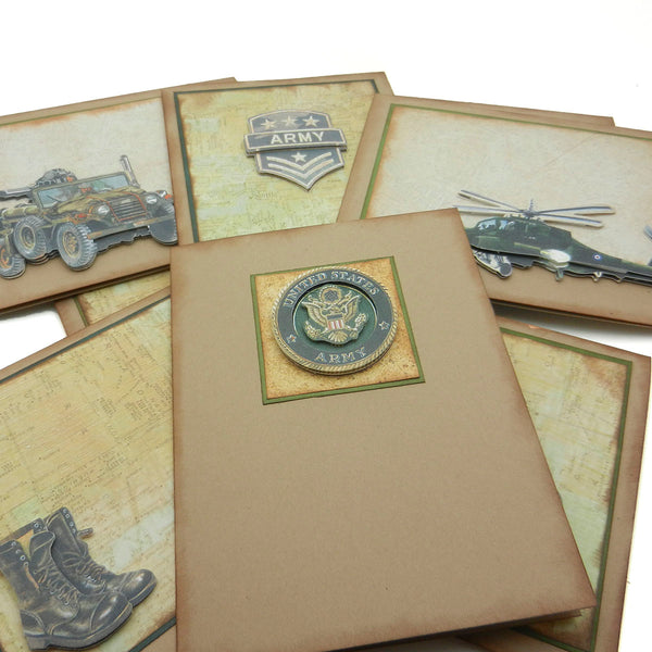 Army themed Greeting Cards - Embellish by Jackie