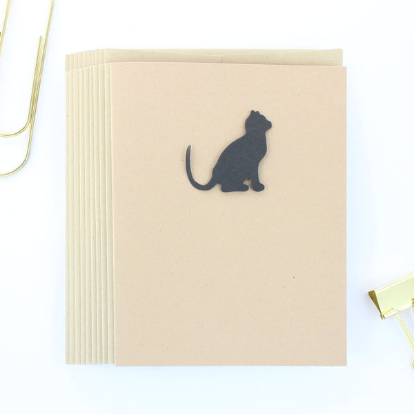Black Cat Blank Notecard | Handmade Cat Greeting Cards | Single or 10 Pack | Kraft Brown - Embellish by Jackie