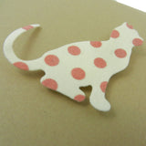 Cat Greeting Card Blank Cards Ivory with Pink Polka Dot 10 Pack - Embellish by Jackie