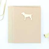 Yellow Dog Blank Notecard | Handmade Standard Dog Greeting Cards | Single or 10 Pack | Kraft Brown - Embellish by Jackie