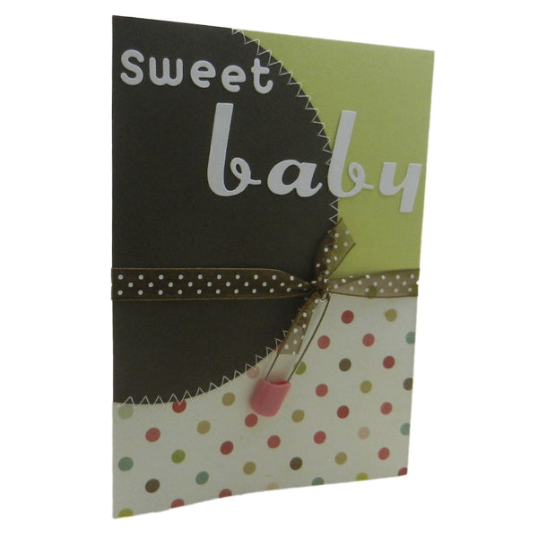 Handmade Baby Congratulations Greeting Card Sweet Baby Polka dot with pink diaper pin for baby girl with envelope