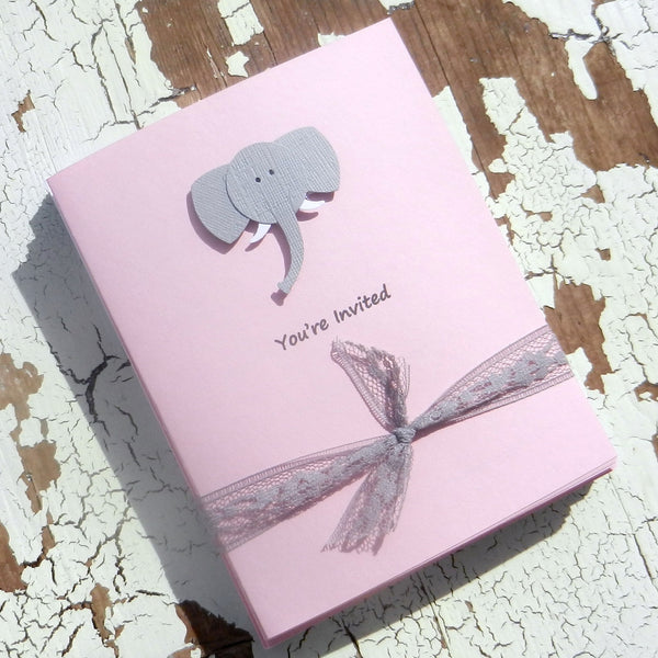 Elephant Cards - 10 Pack - Thank You - Birthday - Invitations - Congratulations - Handmade - Baby Shower - Embellish by Jackie