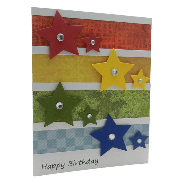 Birthday Card - Primary Colored Stars - Handmade - Happy Birthday Card - Handmade Birthday Card - Star Birthday Card - Birthday Greeting - Embellish by Jackie