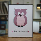 Handmade Breast Cancer Card Get Well Card pink Owl Blank Inside Save the Hooters Get Well - Embellish by Jackie