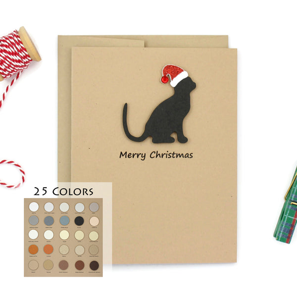 Cat Christmas Cards | Single Card or 10 Pack | 25 Cat Colors Available | Choose Phrases
