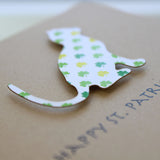 Cat St. Patrick's Day Notecard | Single Card or 10 Pack | Colored Shamrock Pattern | Cat Greeting Cards | Handmade