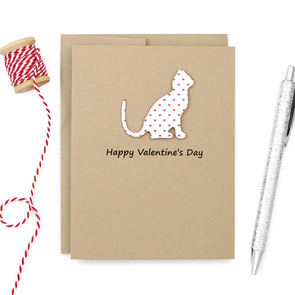 Cat Valentine's Day Greeting Card | Small Red Hearts | Single Card or 10 Pack | Choose Phrases