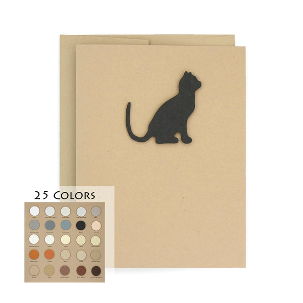 Cat Blank Card | Handmade Cat Greeting Card | Single Card or 10 Pack | 25 Cat Colors Available