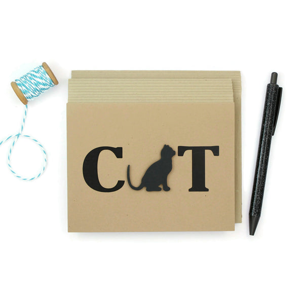 Cat Note Cards - Black Cat Blank Note Card Set - Kraft Paper