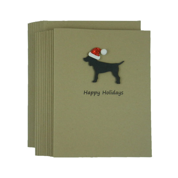 Black Dog with Santa Hat Christmas Cards 10 Pack - Embellish by Jackie