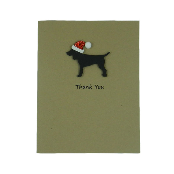 Black Dog with Santa Hat Christmas Cards Thank You Single Card - Embellish by Jackie