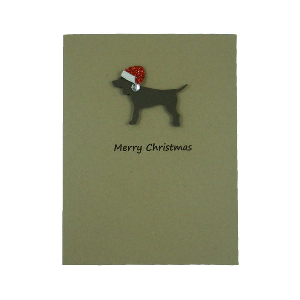 Chocolate Brown Dog with Santa Hat Christmas Card Single - Embellish by Jackie