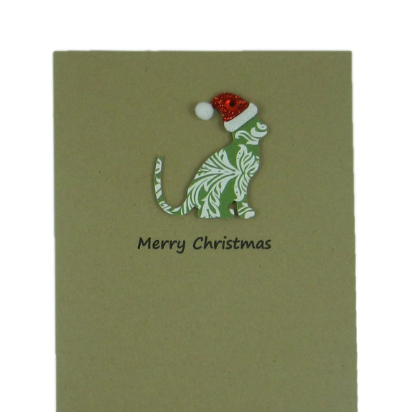 Cat Christmas Cards 10 Pack Green Damask Cat with Santa Hat - Embellish by Jackie