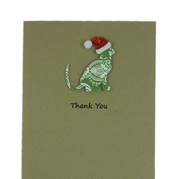 680453a35c2 Cat Christmas Card Single Card Green Damask Cat with Santa Hat - Embellish  by Jackie