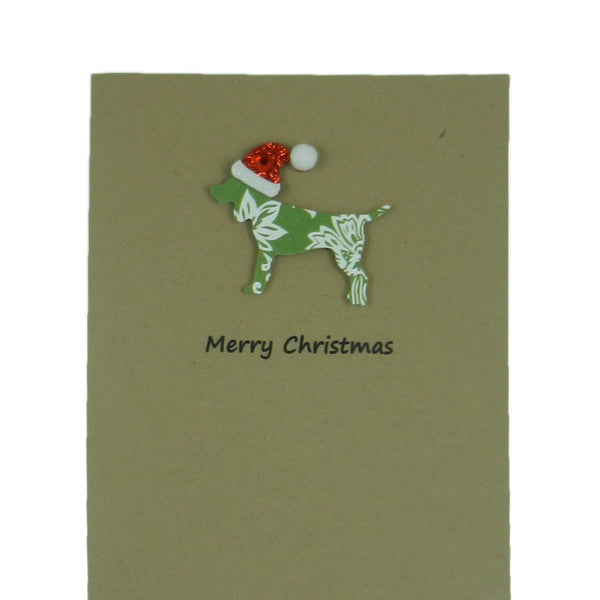 Dog Christmas Cards 10 Pack Green Damask Generic Dog with Santa Hat - Embellish by Jackie