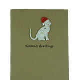 Cat Christmas Card Single Patterned Cat Silhouette with Santa Hat - Embellish by Jackie